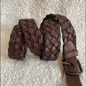 NEW♦️James Campbell Leather Braided Woven Belt 36
